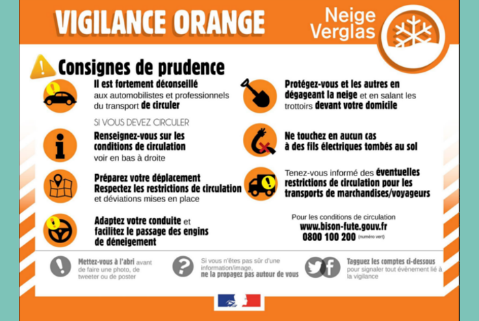 Vigilance Orange neige et verglas